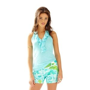 Lilly Pulitzer Shay Blue Turquoise Ruffle Top
